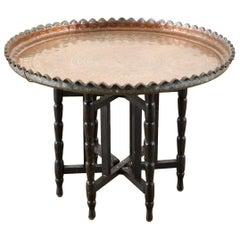 Moorish Copper Tray Table with Folding Base