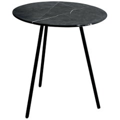Moray Steel and Black Marble Small Side Table