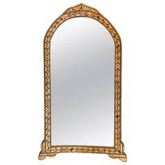 Moroccan Hollywood Regency Style Bone over Brass Inlay Floor or Wall Mirror