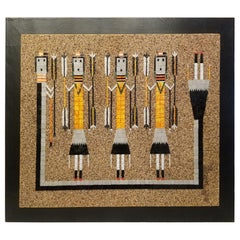 Mosaic Art Work Based on Navajo Sand Painting of Yei Dancers Rainbow Guardians