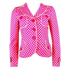 MOSCHINO Cheap and Chic Pink Polka Dot Blazer Jacket w/ Buttons Size 8