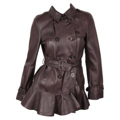 Moschino Cheap & Chic Brown Leather Double Breasted Belted Long Sleeve