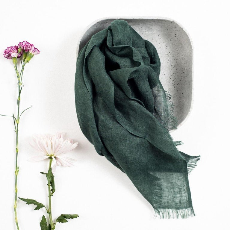 Custom design by Studio variously, MOSS is a light weight classic throw that can be very well used as a scarf or a wrap / shawl . It is made in pure linen by master artisans in Nepal.  A sustainable design brand based out of Michigan, Studio
