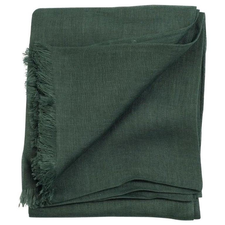 MOSS ( Dark Green )  Light Weight Linen Throw For Sale