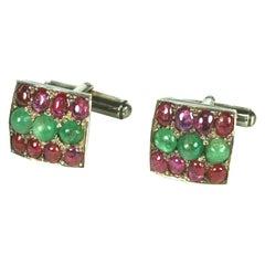 Mughal Emerald and Ruby Cufflinks