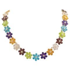 Multi-Color Gemstones Flower Link Gold Necklace