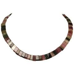 Multi-Color Tourmaline Bead Choker Necklace