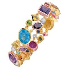 Multicolored Gemstone and Diamond  Bracelet