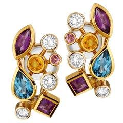Multicolored Gemstone and Diamond Tutti Frutti Earrings