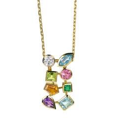 Multicolored Gemstone and Diamond Tutti Frutti Pendant