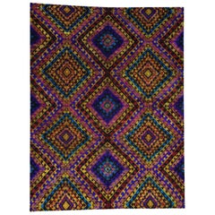 Multicolored Pure Sari Silk Geometric Design Oriental Rug