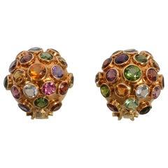 Multigem Domed Sputnik Earrings