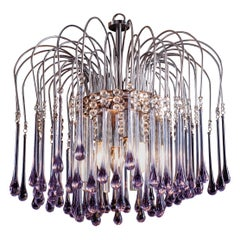 Murano Chandelier with Amethyst Color Droplets Venini Style, 1980s
