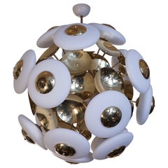Murano Glass and Brass Round Midcentury Chandeliers, 1970
