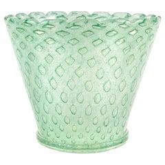 Murano Green Bubbles Pulegoso Gold Flecks Italian Art Glass Flower Pot Vase