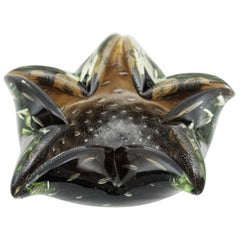 Murano Sommerso Smoke and Clear Art Glass Star Bowl, Italy, 1950s