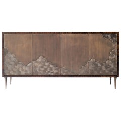 Nami Cabinet,4 Door by DeMuro Das in Walnut Burl and Solid Antique Bronze