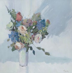Happy Days by Nancy Franke, Floral Impressionist Oil Painting with Green, blue
