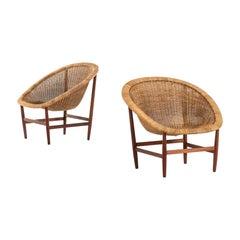 Nanna & Jørgen Ditzel Easy Chairs by Ludvig Pontoppidan in Denmark