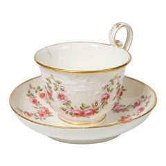Nantgarw Porcelain Breakfast Cup and Saucer with Pink Roses Wales, 1813-1822