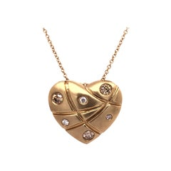 Natural Diamond Yellow Gold Heart Necklace