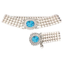 Natural Pearl, Topaz and White Diamond Choker Necklace and Bracelet Set
