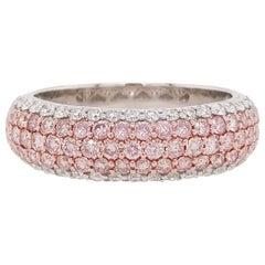 Natural Pink Diamond and White Diamond Ring in Platinum and 18 Karat Pink Gold