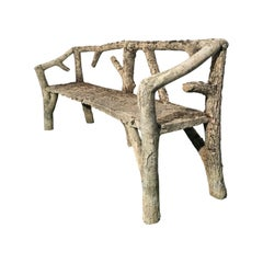 Naturalistic French Faux Bois Bench, circa 1930s