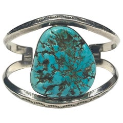 Navajo Sterling Silver Turquoise & Coral Cuff Bracelet with Surprise