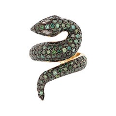 Nazarelle 14 Karat Yellow Gold and Black Rhodium Green Diamond Snake Ring