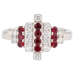 Nazarelle 18 Karat White Gold Ruby and Diamond Ring