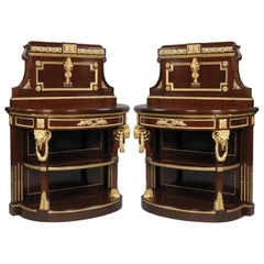 Near Pair of Mahogany Consoles Dessertes by Maison Grohé, French, circa 1860
