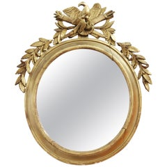 Neoclassical Revival Oblong Giltwood Mirror with Eagle and Trophies