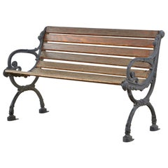 Neoclassical Style Cast Iron and Wood Park Bench