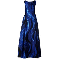New Alberta Ferretti Jasquard Navy Black Metallic Long Dress Gown It 40 - US 4