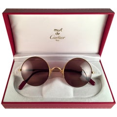 New Cartier Mayfair Round Half Frame Gold 45mm Brown Lens France Sunglasses