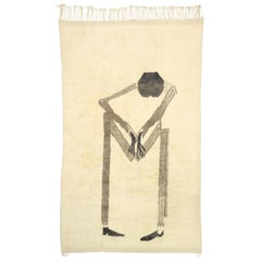 New Contemporary Moroccan Rug with Minimalist Style and Figurative Art Design