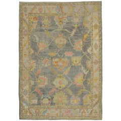 New Contemporary Turkish Oushak Rug in Pastel Colors