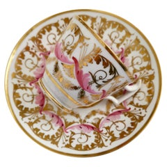 New Hall Cup and Saucer, Gilt and Pink Sprigs, Regency, 1815-1820