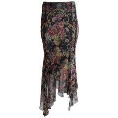 New John Galliano Floral Embroidery Print Silk Floaty Asymmetric Chiffon Skirt