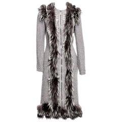New Rare Alexander McQueen F/W 2011 Fox Fur & Wool Runway Coat Dress IT42