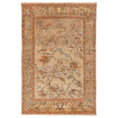 New Turkish Sultanabad Style Rug with Orange and Brown Floral Motifs