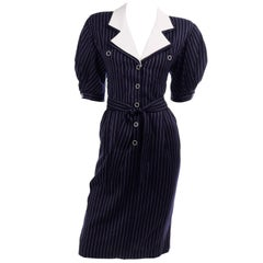 New Ungaro Deadstock Vintage Dress in Navy Blue & White Pinstripes With Tag