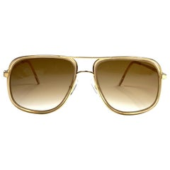 New Vintage Alain Delon Oversized Gold & Translucent  1990  Italy Sunglasses