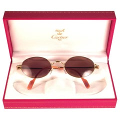 New Vintage Cartier Filao Gold Plated Solid Brown Lens France 1990 Sunglasses