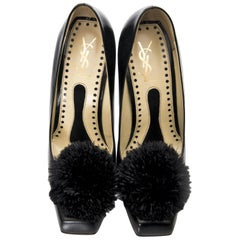 New Yves Saint Laurent YSL Black Heels Pumps Sz 38.5 Featured in Rare Banned Ad