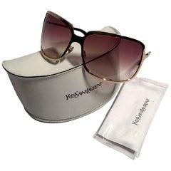New Yves Saint Laurent YSL Gold Wrap Sunglasses W/ Case
