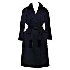 New Yves Saint Laurent YSL Pre-Fall 2009 Heavy Wool & Mink Coat Sz FR40