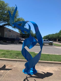 """""""Sail Again"""" Nic Noblique, Large Blue Powder Coated Steel Sculpture 109x34x69 in"""