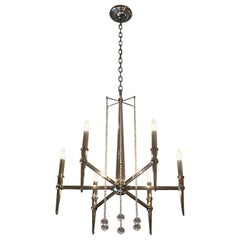 Nickel Chandelier in the Style of Tommi Parzinger, circa 1960
